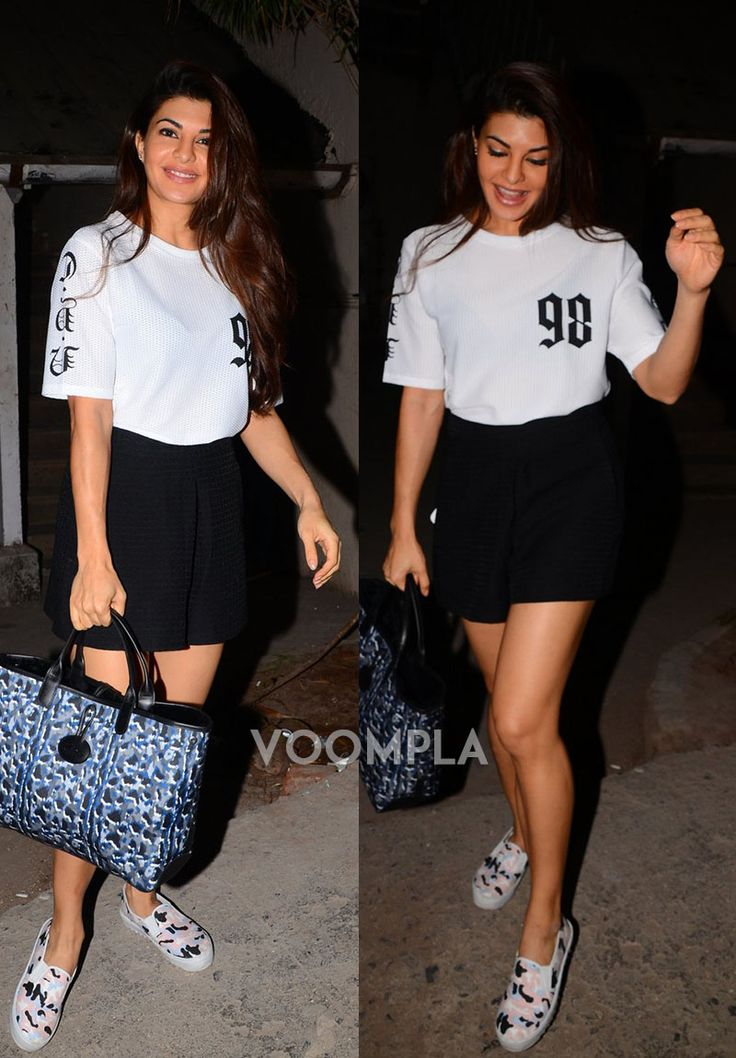 Girly style! Bubbly Jacqueline Fernandez looking so stylish in a black skirt... via Voompla.com