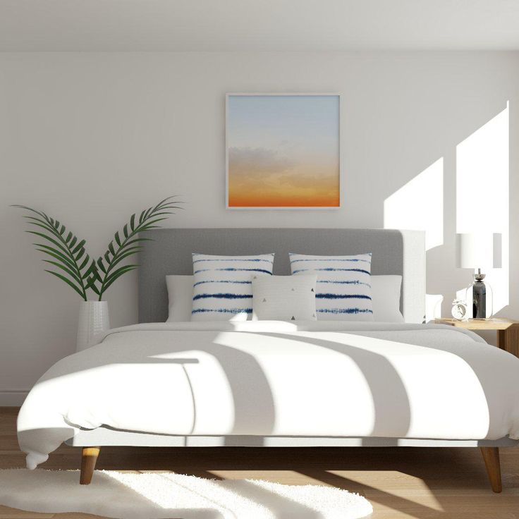 Modern And Minimal Bedroom With A Pop Of Color.