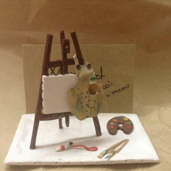Idea regalo di natale: Porta biglietti da visita pittura artista/ Business card stand holder business card desk miniature artist paint