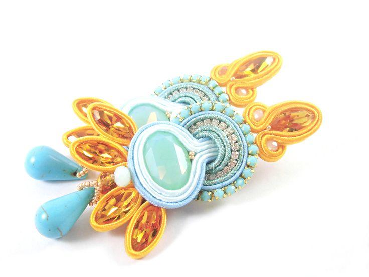 Orecchini Swarovski in soutache, orecchini grandi, gioielli estivi by PerleDintorni on Etsy