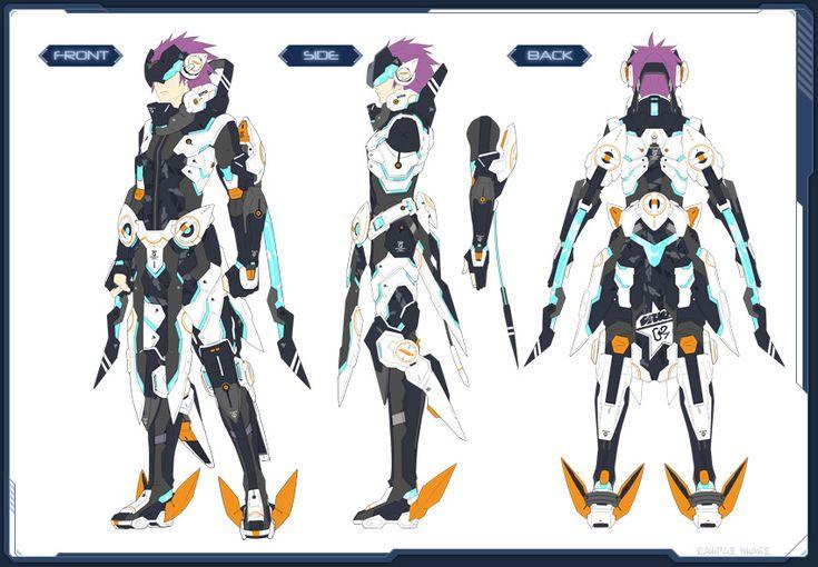1boy akikazu_mizuno armor concept_art phantasy_star phantasy_star_online_2 purple_hair simple_background solo standing turnaround visor
