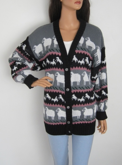 Vintage 1980s Cute Novelty Sheep Print Longline Oversized Cardigan available to buy online at Virtual Vintage Clothing