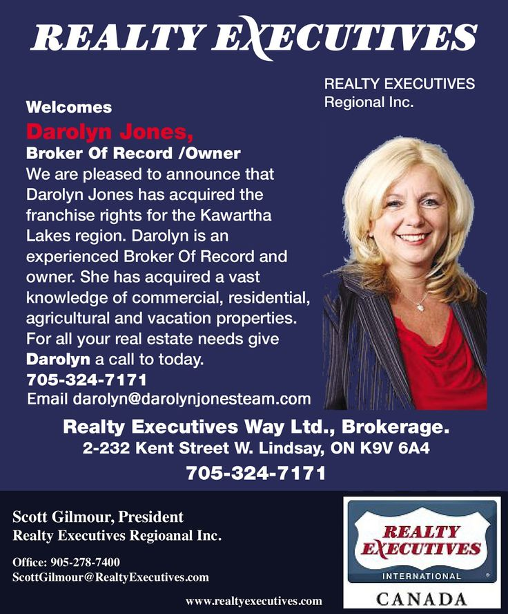 Realty Executives Regional Inc. Welcomes Darolyn Jones!  I would like to thank Realty Executives Regional Inc. for welcoming myself in the acquisition of the Realty Executives franchise rights for the Kawartha Lakes region.  My new Brokerage, Realty Executives Way Ltd. will continue with the same commitment to excellence, honesty and integrity in negotiating the best deals for my clients and that of my team, Darolyn Jones Team. Contact us at http://www.darolynjonesteam.com or call…