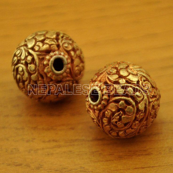 UB1205 Nepalese Artisan Handmade Copper Gold Plated 2 beads from Nepal by Eksha #Eksha #Bead