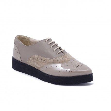 Pantofi Oxford nude de dama din piele naturala si lac 797-810