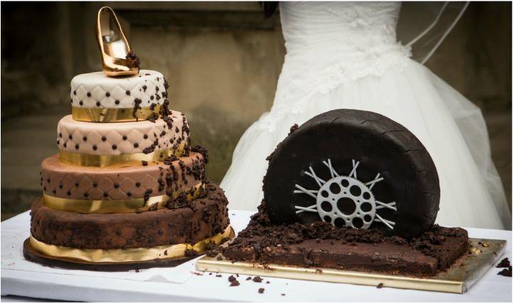 Hochzeitstorte für Sie und Ihn | 4-stöckig | Motorradreifen
