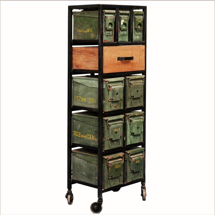 Industrial Military Ammo Metal Box 10 Unit Rolling Storage Rack