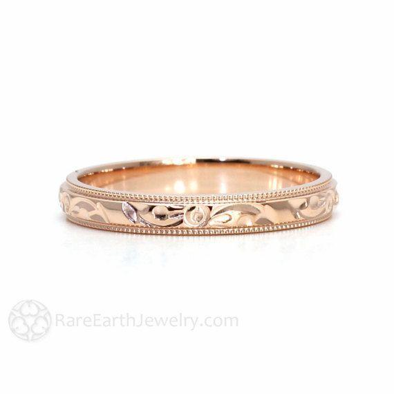 Engraved Wedding Band Vintage Inspired Wedding Ring 3mm Floral Flower Design in 14K 18K White Yellow or Rose Gold Platinum