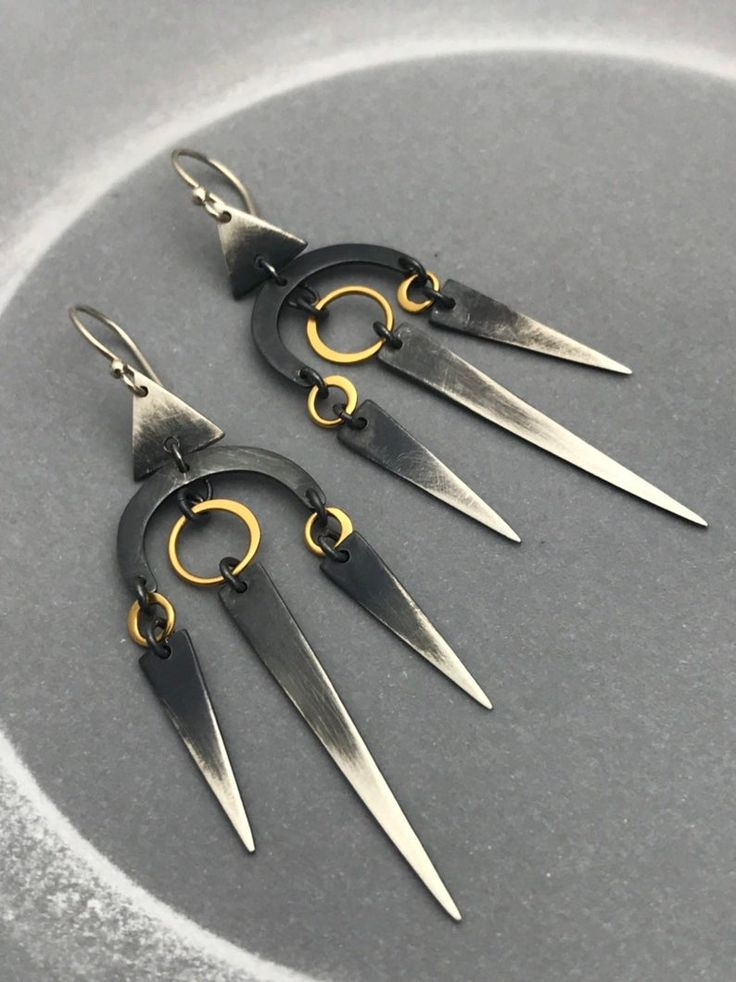 3 Quills Geometric Spike Earrings with 24K Gold Vermeil Circle and Oxidized Triangles