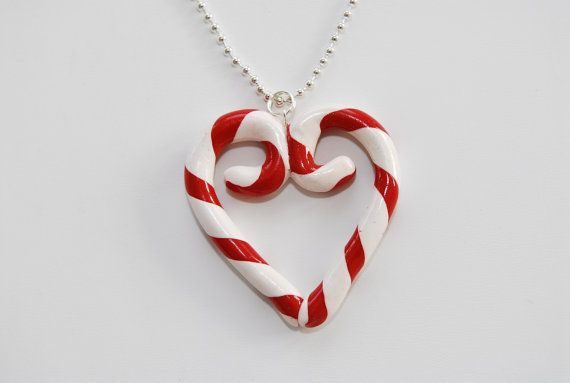 Candy Cane Heart...this could be made with polymer clay and would be a great ornament for the Christmas tree!