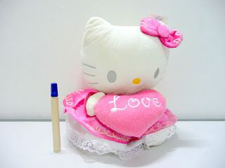 Boneka hellokitty pink love lucu