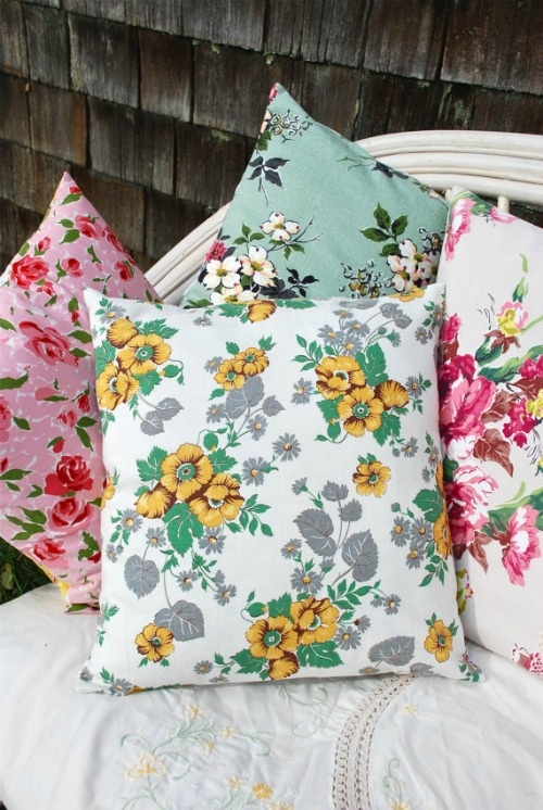 Vintage Tablecloth Pillows - Now there's an idea for some of the ones I don't use very much.
