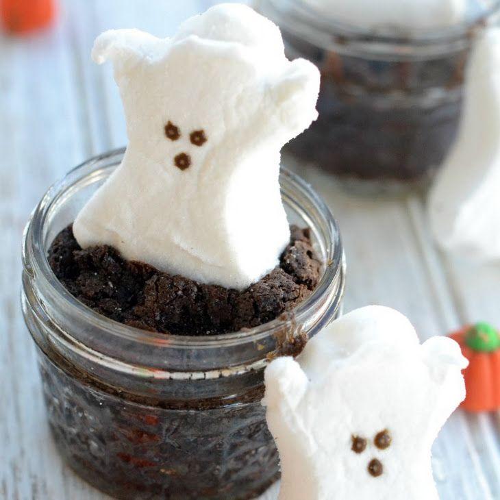 Mason Jar PEEP Brownies Recipe Desserts with butter, white sugar, eggs, vanilla extract, unsweetened cocoa powder, all-purpose flour, salt, baking powder, Peeps