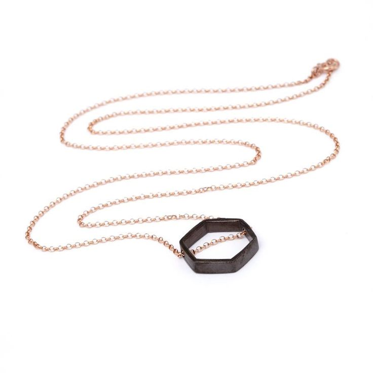 Rhodium Plated Hexagone/Rose Gold Plated Chain