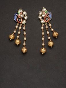 Peacock earring with kundan