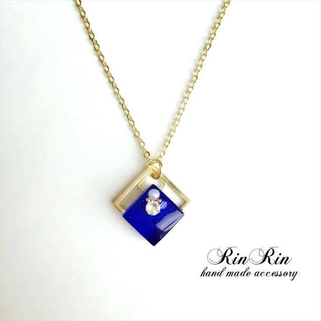 【BLUE◇SQUARE】ガラスタイル ネックレス