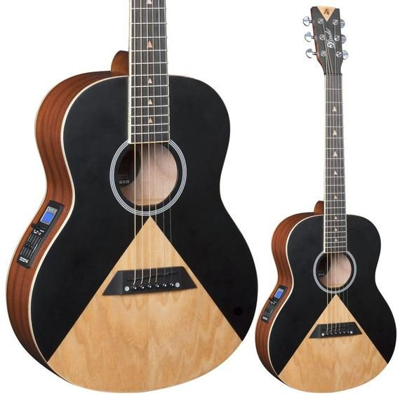 Lindo Aztec Parlor Travel Electro Acoustic Guitar Preamp And Lcd Tuner Black Natural Traveler Guitar Electro Acoustic Guitar Guitar