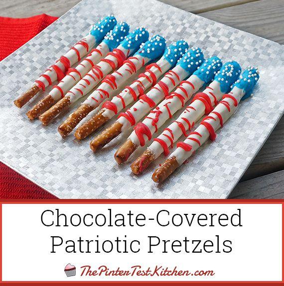 Chocolate Pretzel Logs Dunmore Candy Kitchen: Chocolate-Covered Patriotic Pretzels