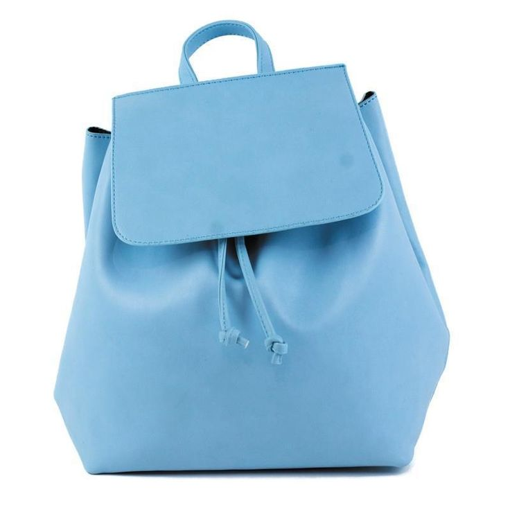 Powder Blue Back Pack Bag With Drawstring Fold Over Closure NWT NEW #Simi #Backpack