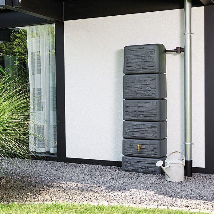 4rain Wandtank Slim Stone Anthrazit 300 L Regenwasserbehalter Wand Wasserspeicher