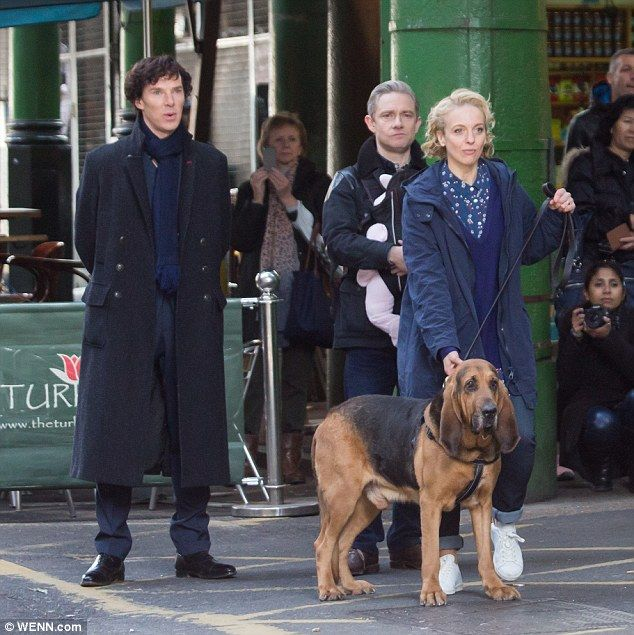 Never work with children or animals: Martin and Benedict were joined by co-star Amanda Abb...