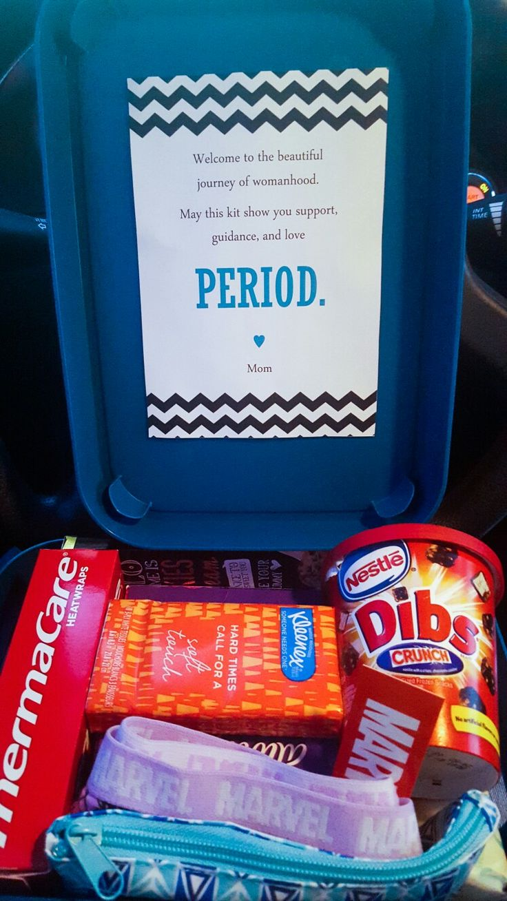 "Tween/Teen First Period Survival Kit! ♡ Note reads: ""Welcome to the beautiful journey of womanhood. May this kit bring you support, guidance, and love PERIOD."" ♡ Inside kit ideas: Midol, Travel Advil, SuperHero Panties (bc women are superheros), mini cosmetic bag for her purse, kleenex, Pads, flushable wipes, Thermacare HeatPads, Hand Sanitizer,Hello Bar of Chocolate, and Dibs Ice Cream ♡"
