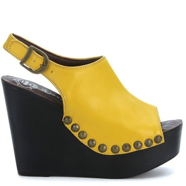 Snick Wedge Yellow Leather Sandal ($81) ❤ liked on Polyvore featuring shoes, sandals, giallo, womenshoeshigh-heeled shoes, yellow shoes, ankle strap sandals, yellow sandals, studded sandals and yellow wedge shoes