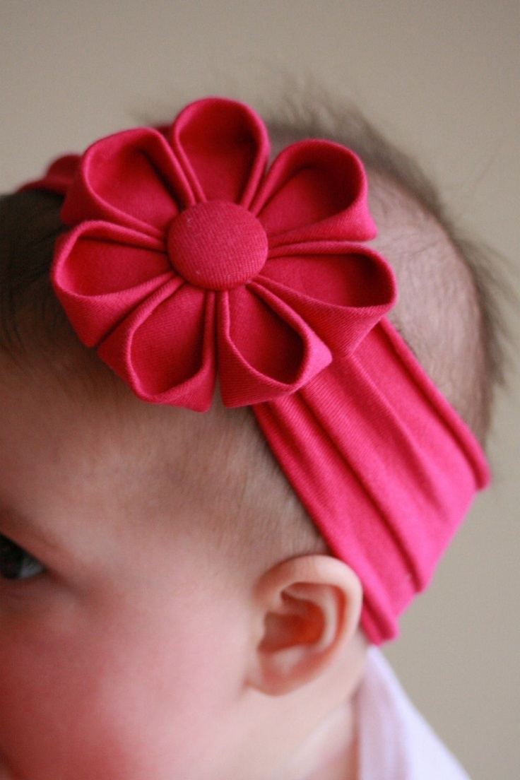 baby headband hot pink kanzashi flower. via Etsy.