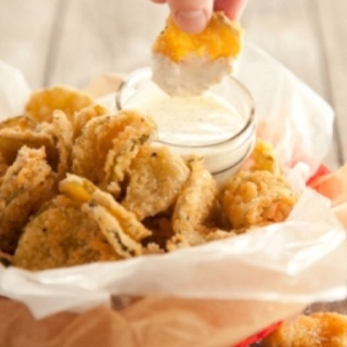 Deep Fried Pickles.  But don't use peanut oil, it is one of the WORST oils you can eat.  Organic expeller pressed canola, or safflower are better choices, and can be used at high temperatures (up to 425).