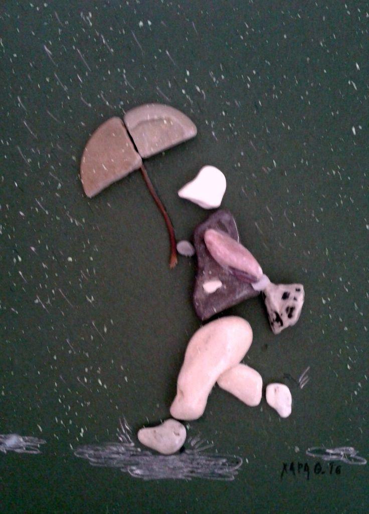 """Raining"" Pebble art by Hara"