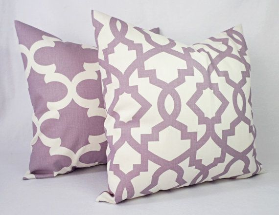 Soft Purple and Beige Pillow Cover One Throw by CastawayCoveDecor