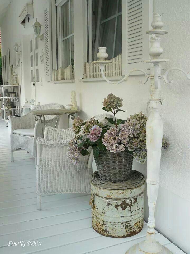white shabby porch