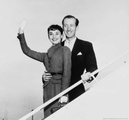 Audrey Hepburn with then fiancé, James Hanson, upon their arrival from Rome