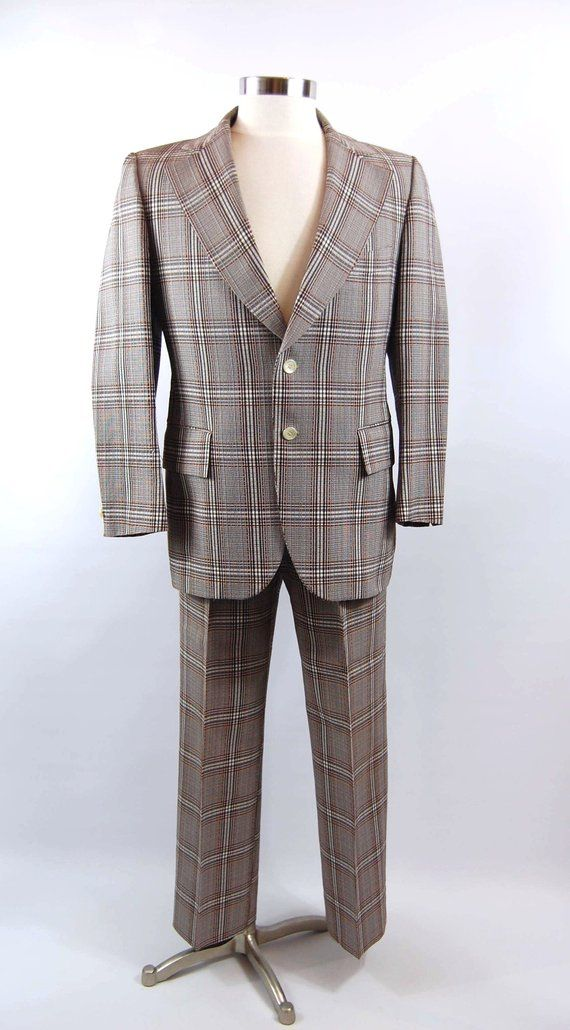 70s Plaid Mens Suit 40 Reg Vintage Menswear Brown White Bold Etsy