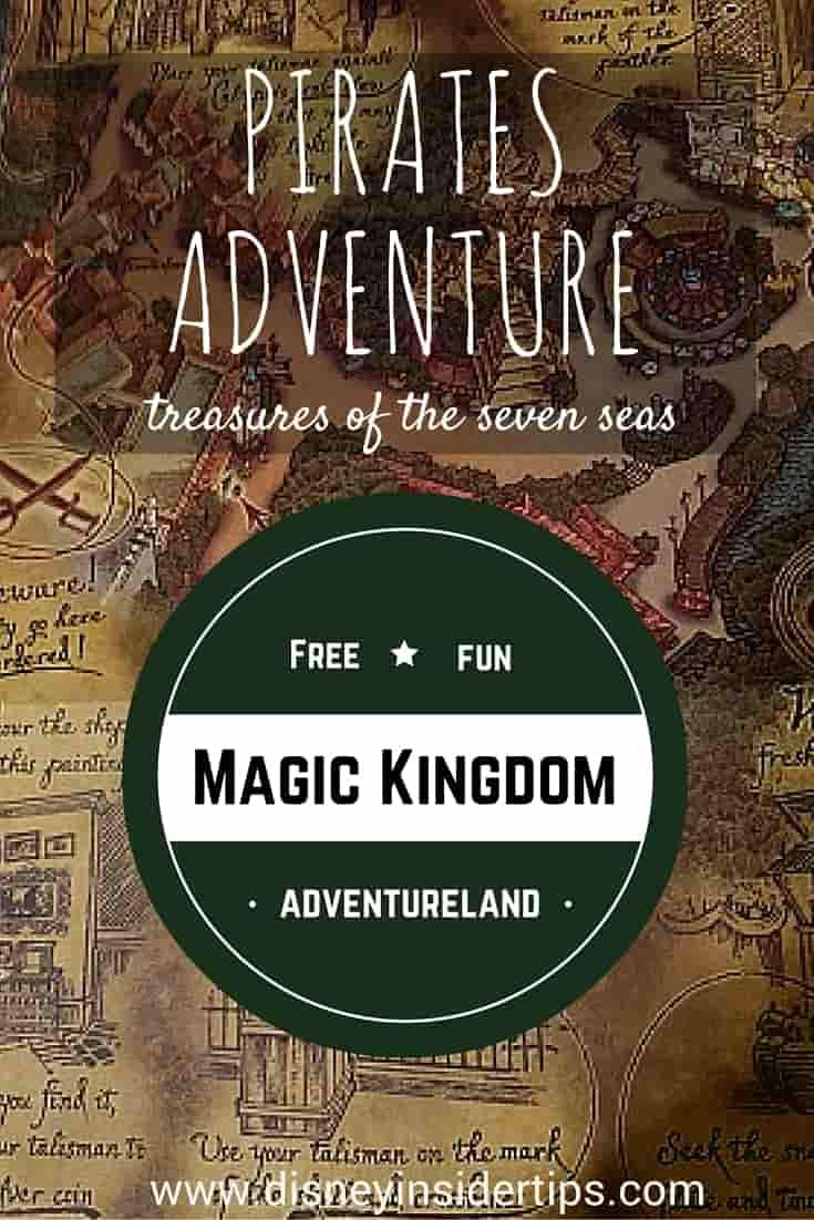One of our favorite interactive experiences at Walt Disney World's  Magic Kingdom is A Pirate Adventure, Treasures of the Seven Seas. Located in Adventureland, A Pirate's Adventure allows guests to become pirates by going on a scavenger hunt for hidden treasure through out the park. via @disneyinsider