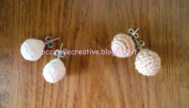 Orecchini perle uncinetto, per informazione e schema ⇩ http://coccinellecreative.blogspot.it/2013/09/orecchini-di-perle-uncinetto.html