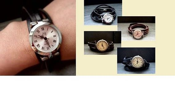 Armbanduhr Wickeluhr Uhr Damenuhr Lederuhr Vintage-Stil