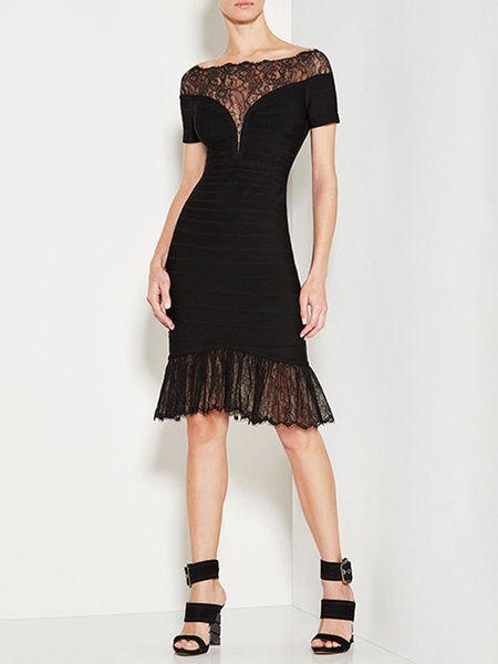 5ffd06539b50 Club Dress Bateau Neck Short Sleeve Lace Semi Sheer Ruffles Mermaid Women's Bodycon  Dresses in 2019 | Sexy bodycon dresses | Dresses, Lace dress, ...