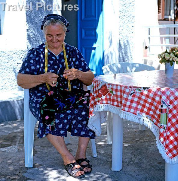 Old greek woman knitting