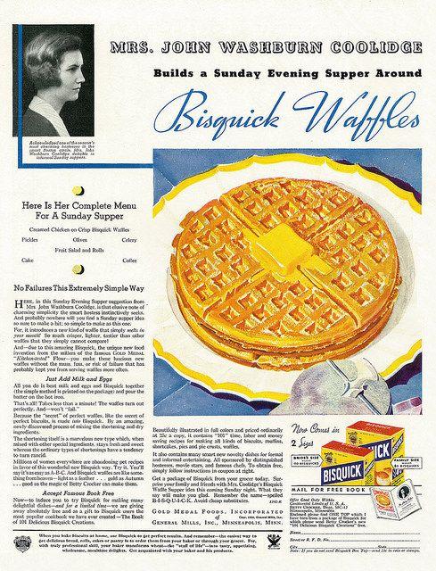 Bisquick Waffles ad, 1934.  Interesting Sunday supper menu.