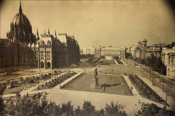 A Kossuth tér a Parlamenttel.  A fotó Vadas Ernő műtermében készült az 1930-as években.