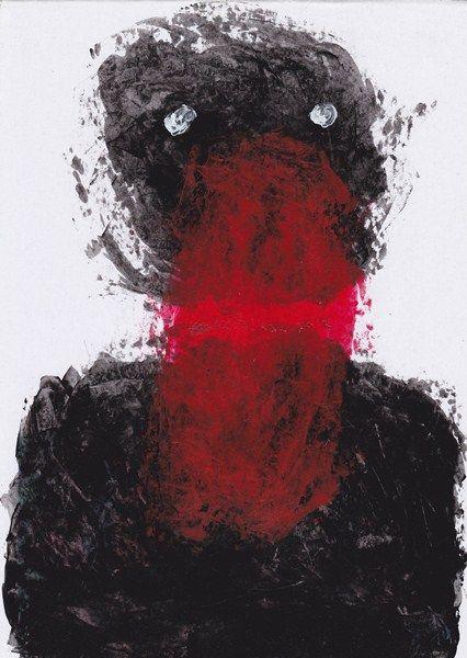 boy alkaf, wajah #1, A4, acrilyc & textile ink on paper, 2012