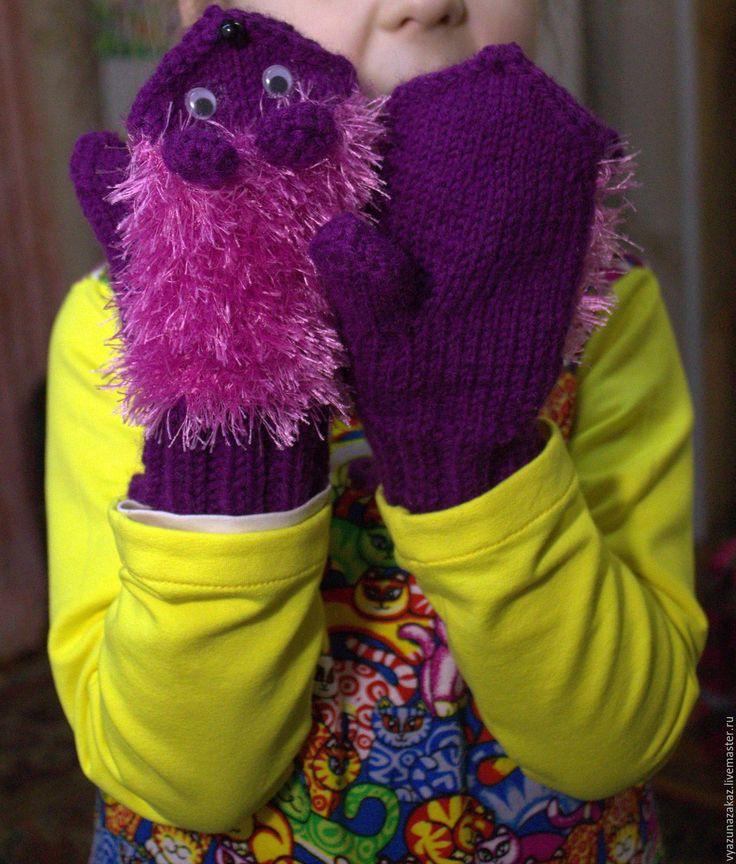 Купить Рукавички - ЕЖИКИ - комбинированный, варежки, варежки вязаные, рукавицы вязаные, варежки теплые