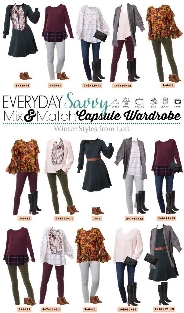 Check out this mini loft winter capsule wardrobe with both casual and a bit more dressy mix