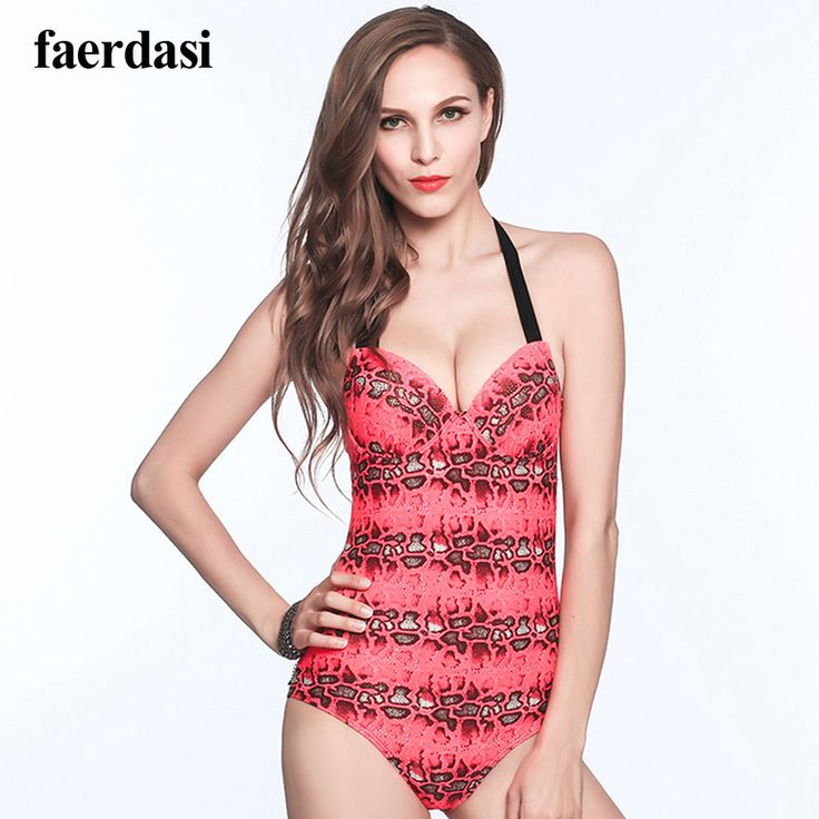 Sexy Leopard One Piece Swimsuit Halter Deep V Padded Swimwear 2017 New Backless Female Bodysuit Summer Push up Bathing Suit