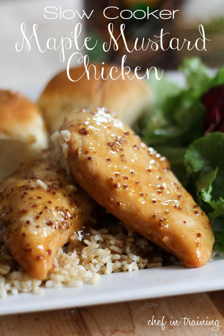 Slow Cooker Maple Mustard Chicken... Only 4 ingredients and the sauce is outstanding!