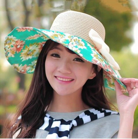 Floral straw hat with bow decoration UV sweet ladies sun hats