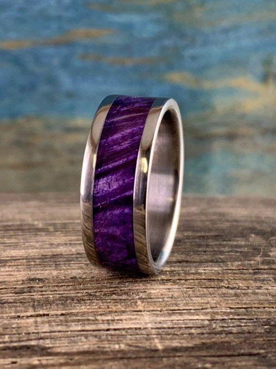 Purple Wood Ring Mens Wedding Band Titanium Wood Ring Etsy Titanium Rings For Men Rings For Men Rings Mens Wedding Bands