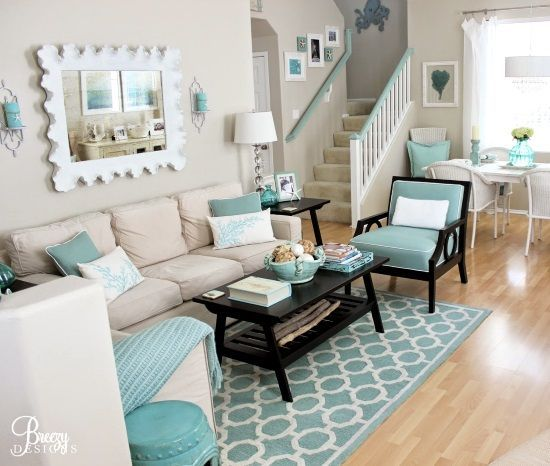I literally smile every time I see this  beach cottage signature color. It both soothes me and brings me joy! Aqua Seafoam Living Room