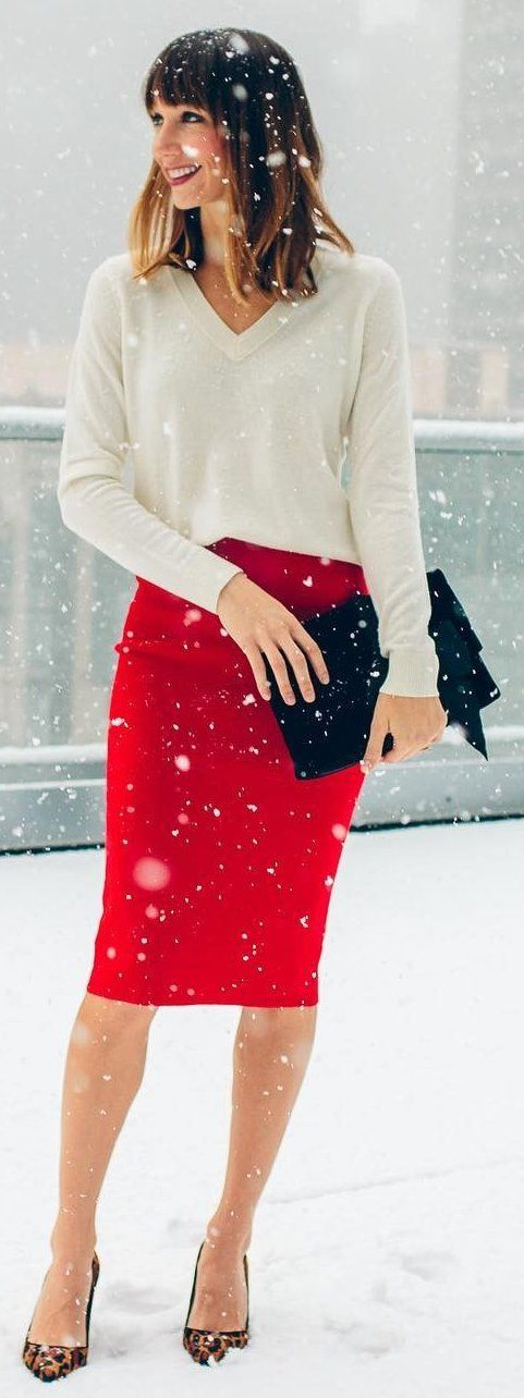 #winter #fashion /  Red Pencil Skirt + White Knit + Leopard Pumps
